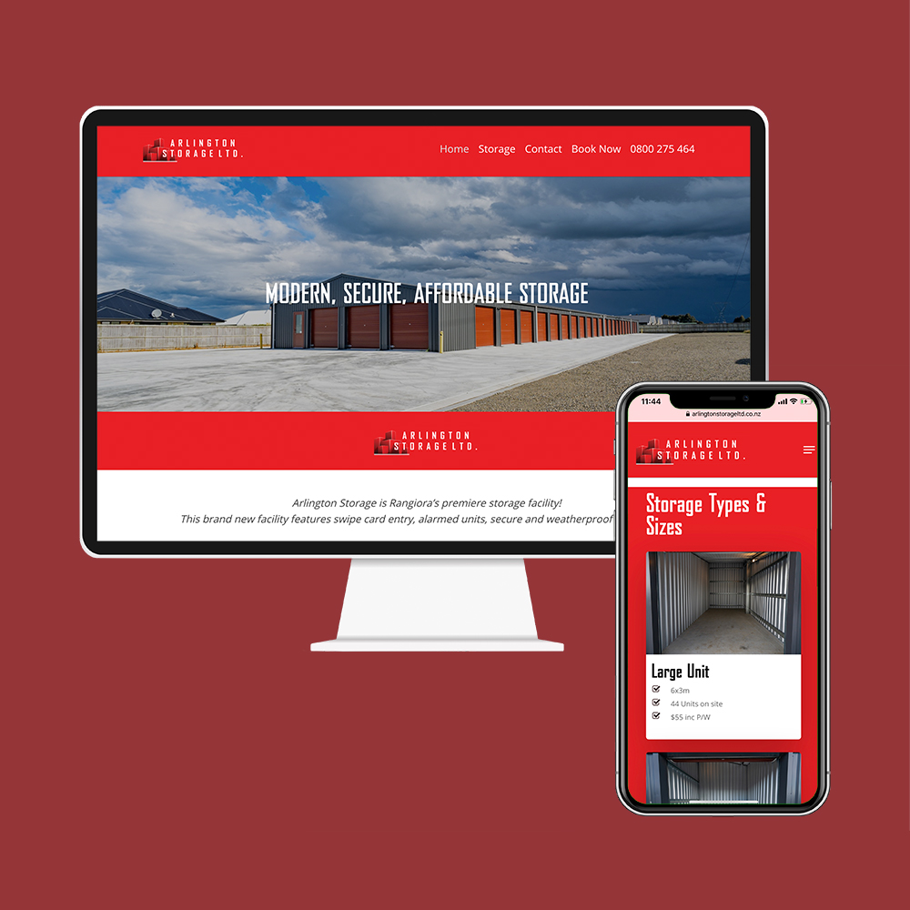Arlington Storage had their website designed and built by the web developers in Christchurch at MoMac