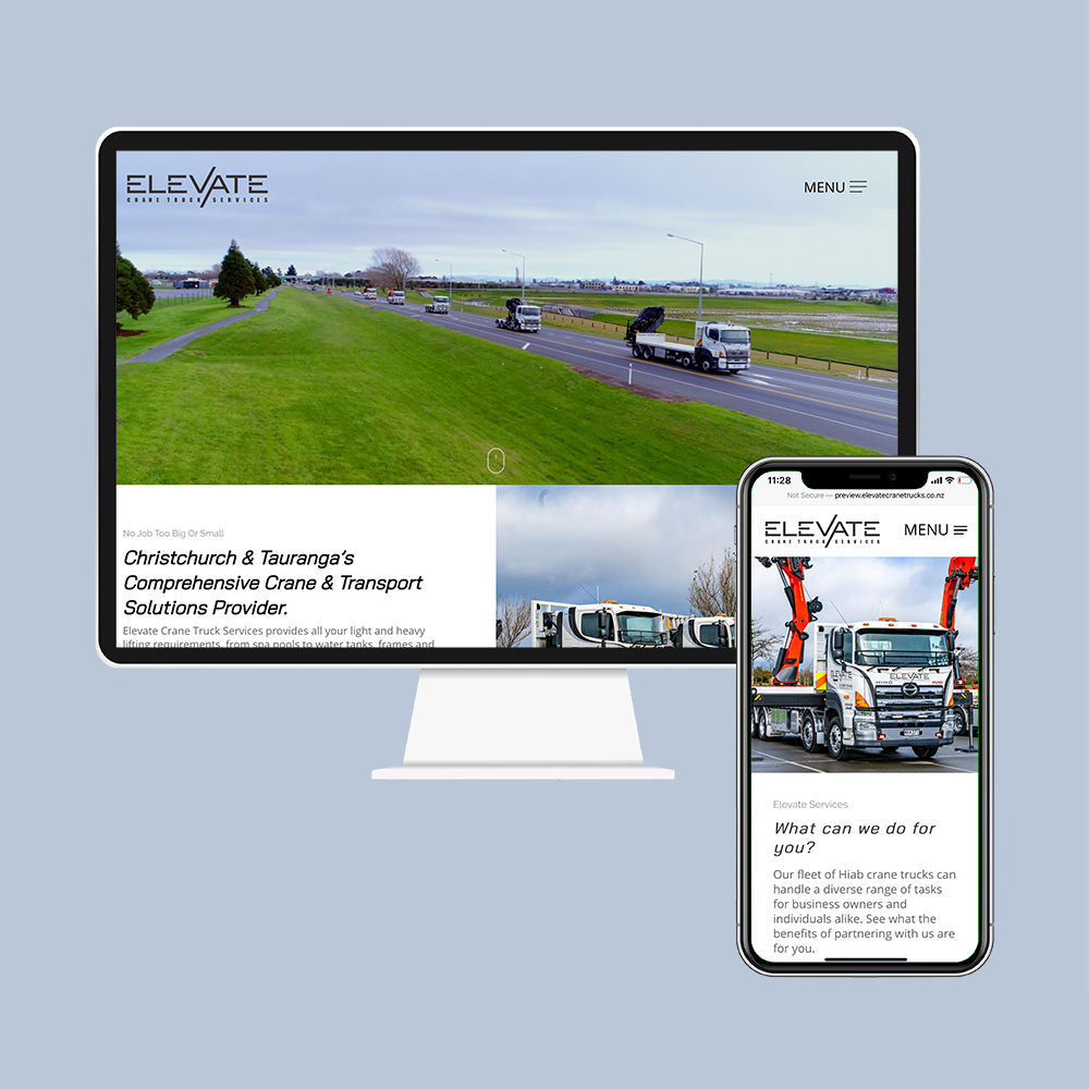 Elevate Crane & Truck Services had their website designed and built by the web developers in Christchurch at MoMac