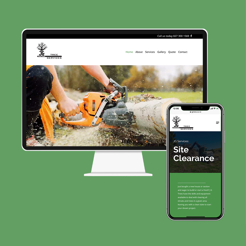 JG Trees had their website designed and built by the web developers in Christchurch at MoMac