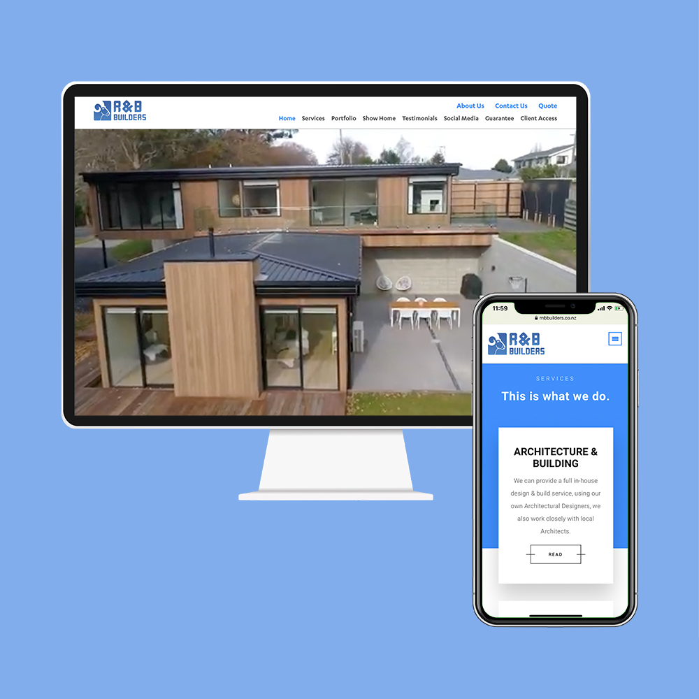 R&B Builders had their website designed and built by the web developers in Christchurch at MoMac