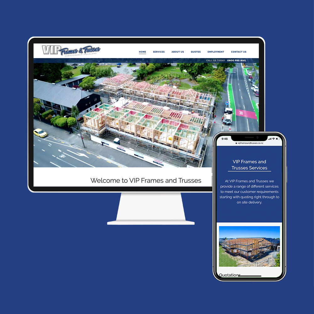 VIP Frames & Trusses had their website designed and SEO done by the web developers at MoMac