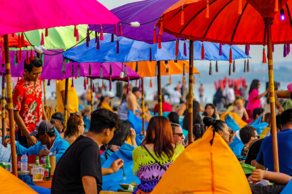 Beach photo with umbrellas taken by the photographer at MoMac