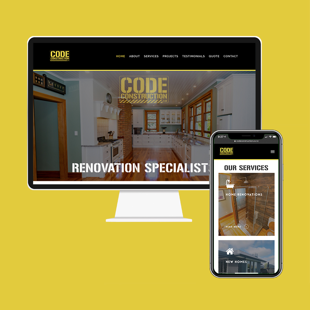 Code Construction had their website designed and built by the web development team at MoMac