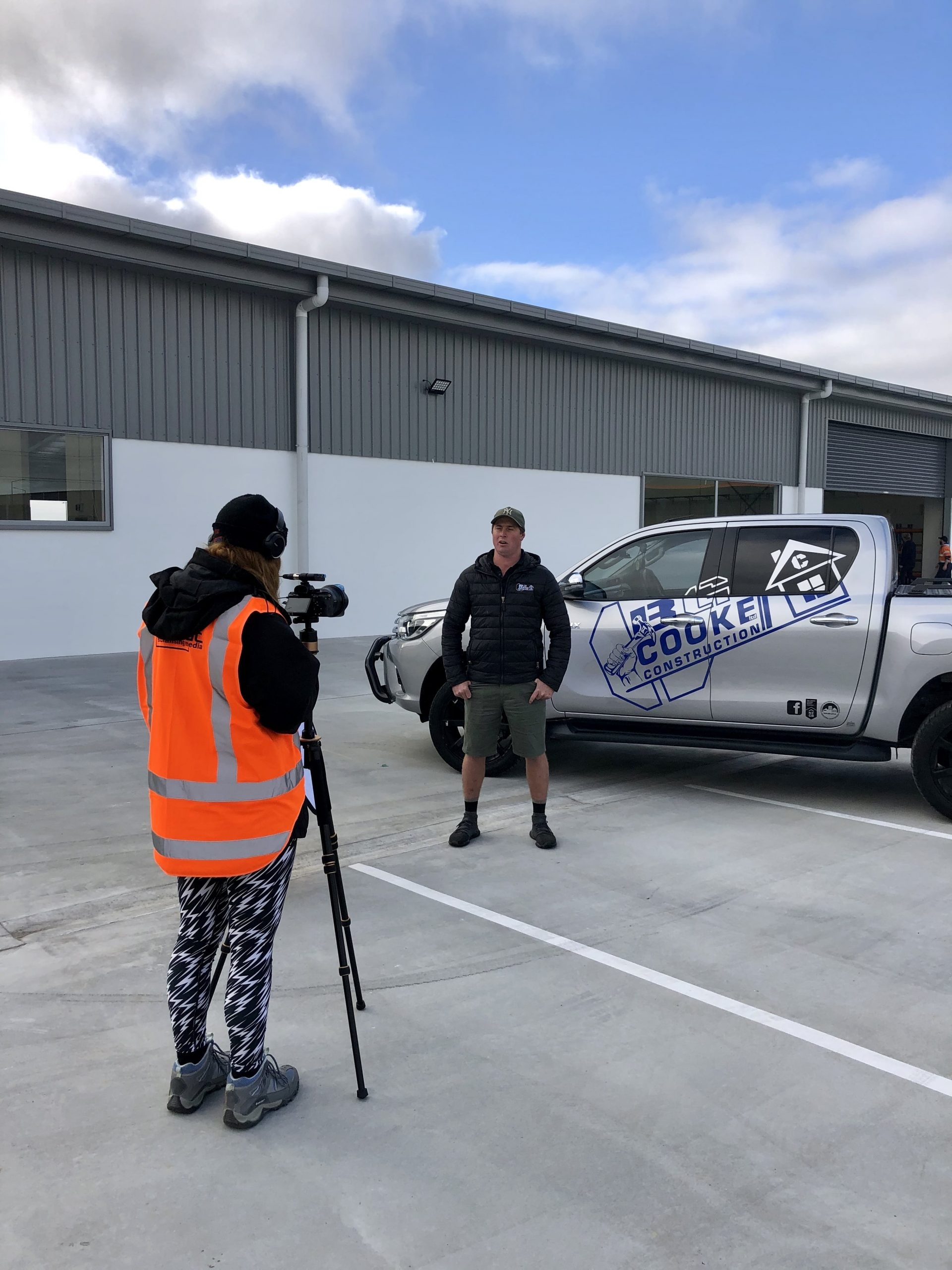 A MoMac videographer filming on site in North Canterbury