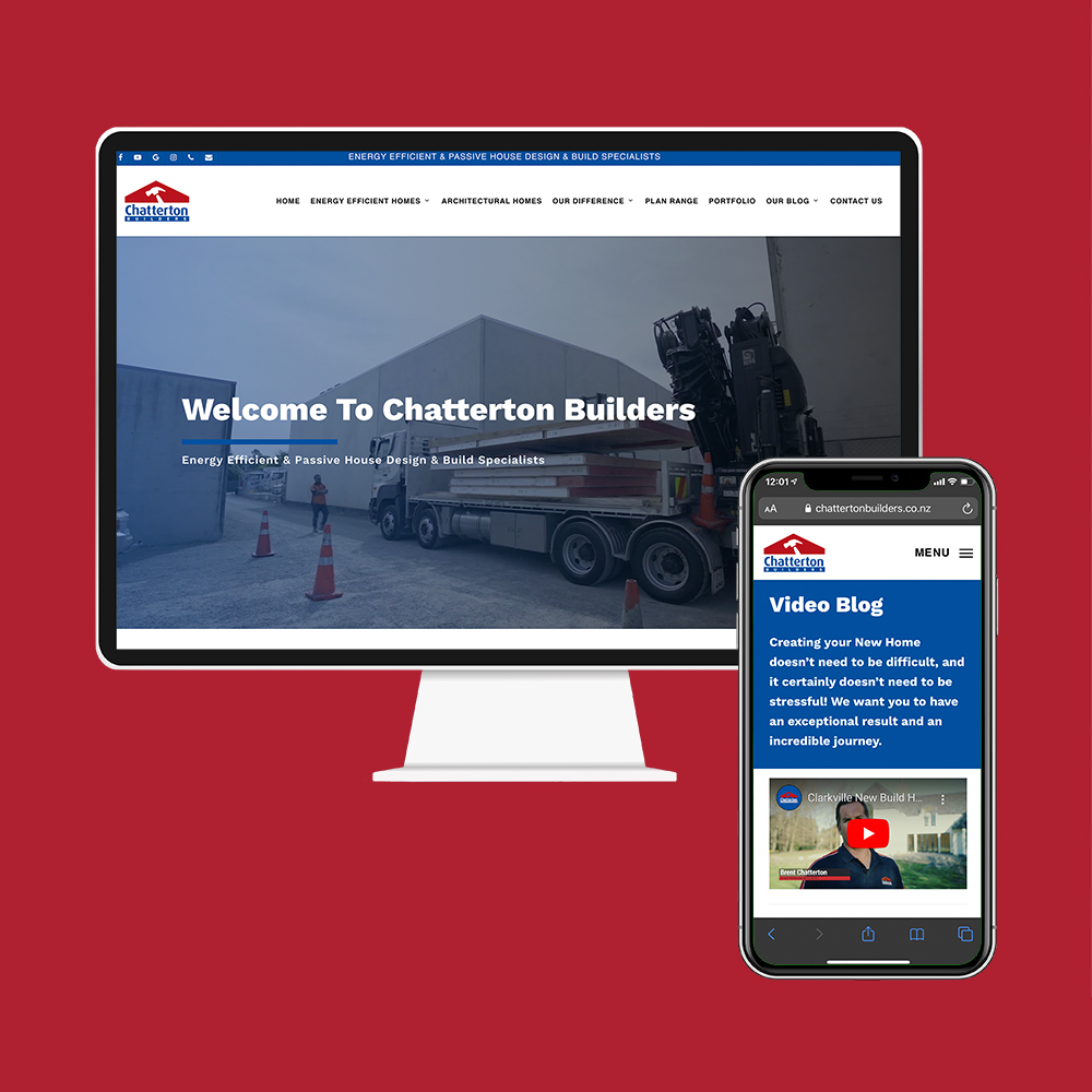 Chatterton Builders had their website designed by the team at MoMac in Christchurch