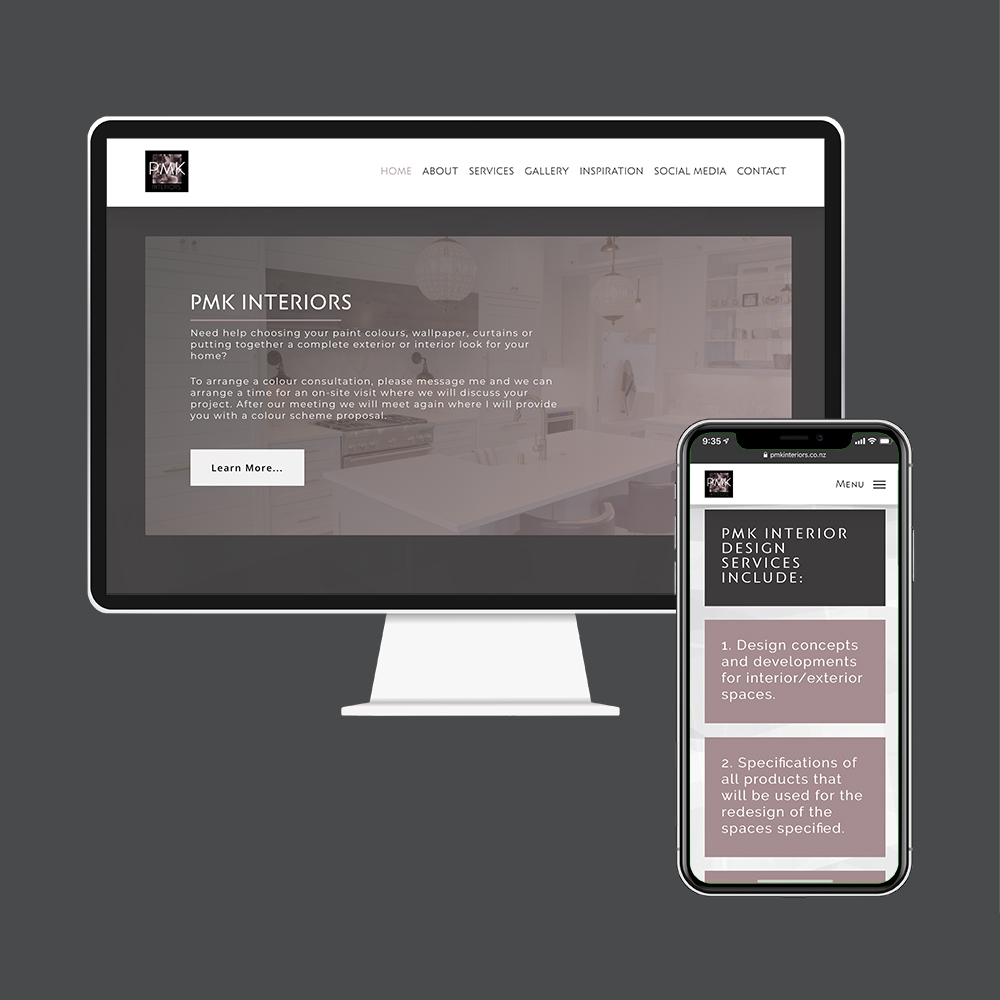 PMK Interiors website created by the web designers in Rangiora at MoMac
